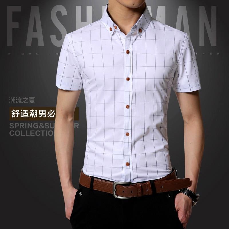 New Fashion Brand Men Clothes Slim Fit Men Short sleeve Shirt Men Plaid Cotton Casual Men Shirt Social Business Casual