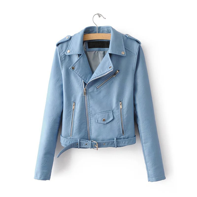 New 2018 Spring Fashion Bright Colors Good Quality Ladies   Basic   Street Women Short Pu Leather   Jacket   Fast Accessories