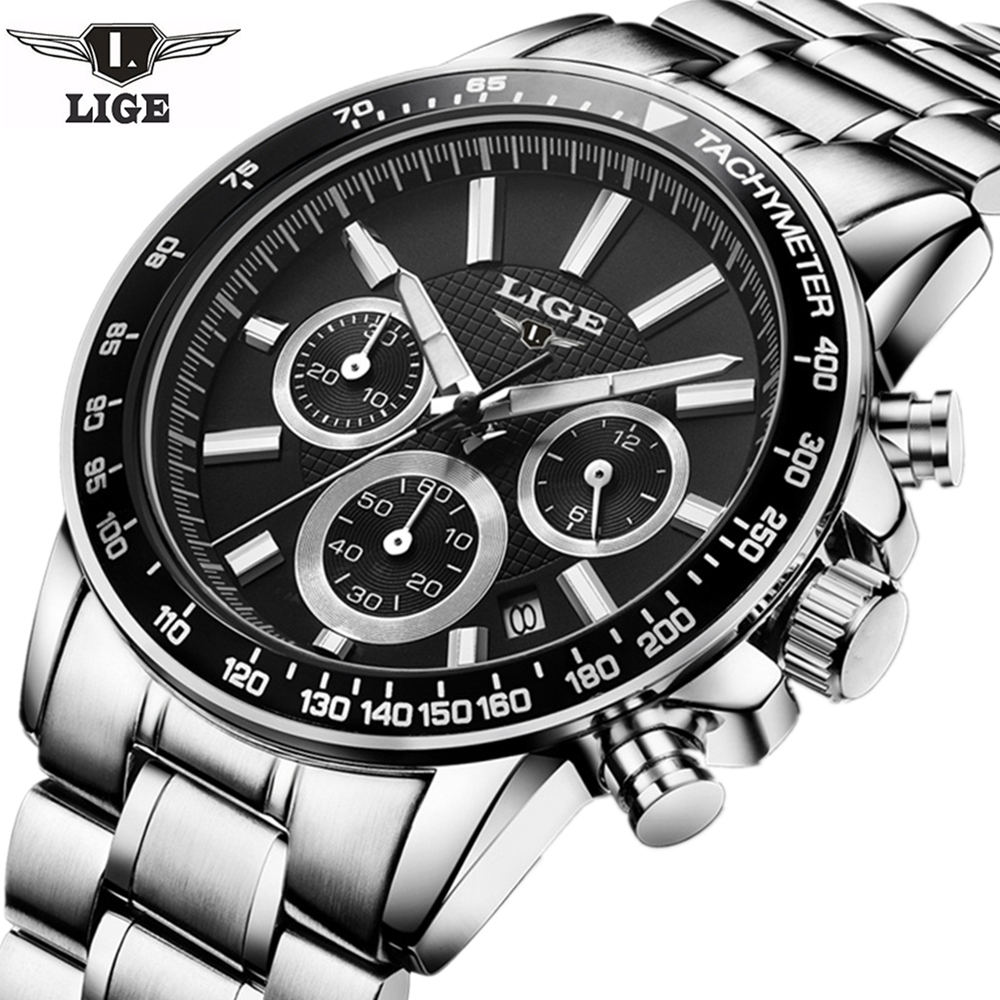 LIGE Mens Watches Top Brand Luxury Quartz Watch Mens Hour Date Clock Leather Strap Fashion Casual Watch Men Military Wrist Watch top brand luxury men watches men s quartz hour date clock male genuine leather strap casual sports wrist watch gold montre homme