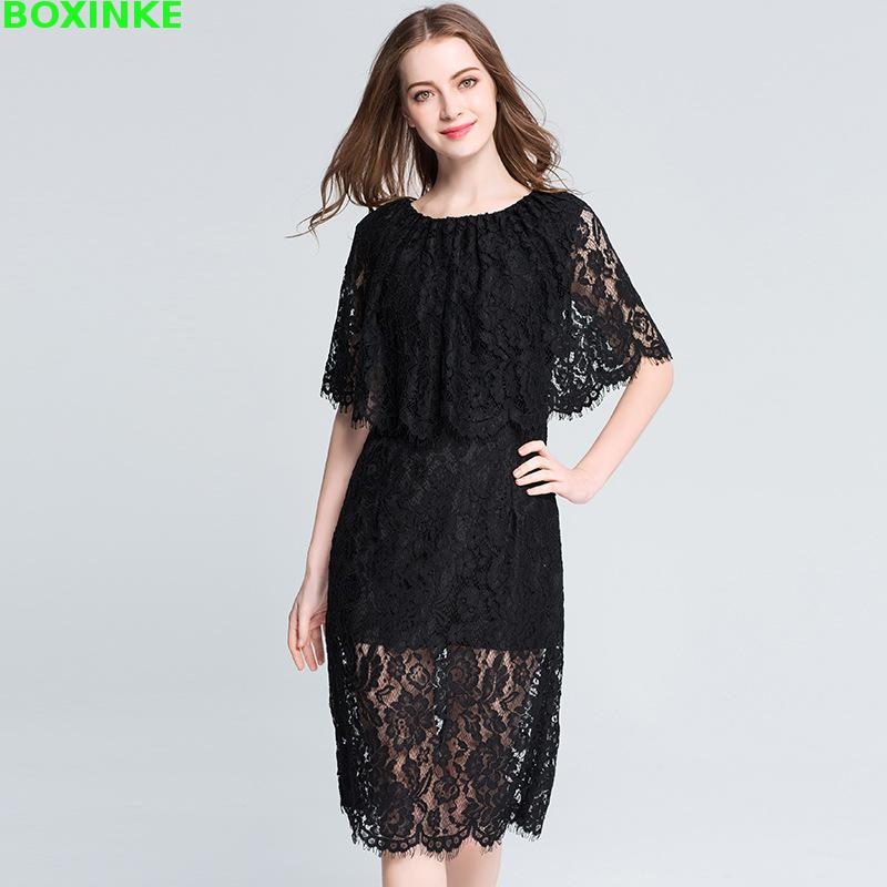 75f0245976d Real New Plus Size 2018 Yards Sleeveless Dress Amoi Big Fashion Eyelash Lace  Shawl Add Fertilizer Increased 200 Pounds Of Fat -in Dresses from Women s  ...