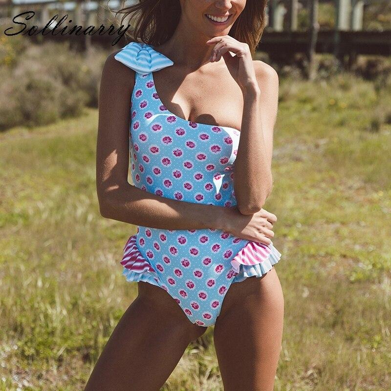 Sollinarry 2019 Sexy One Shoulder Beachwear Swimsuit Floral Print Women Hollow Out Bikini One Piece Ruffle Bathing Swimsuit