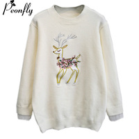 PEONFLY Women Winter Christmas Sweater Deers Embroidery High Qulaity Sweater and Pullovers Patterns Knitted Tops Casual wear
