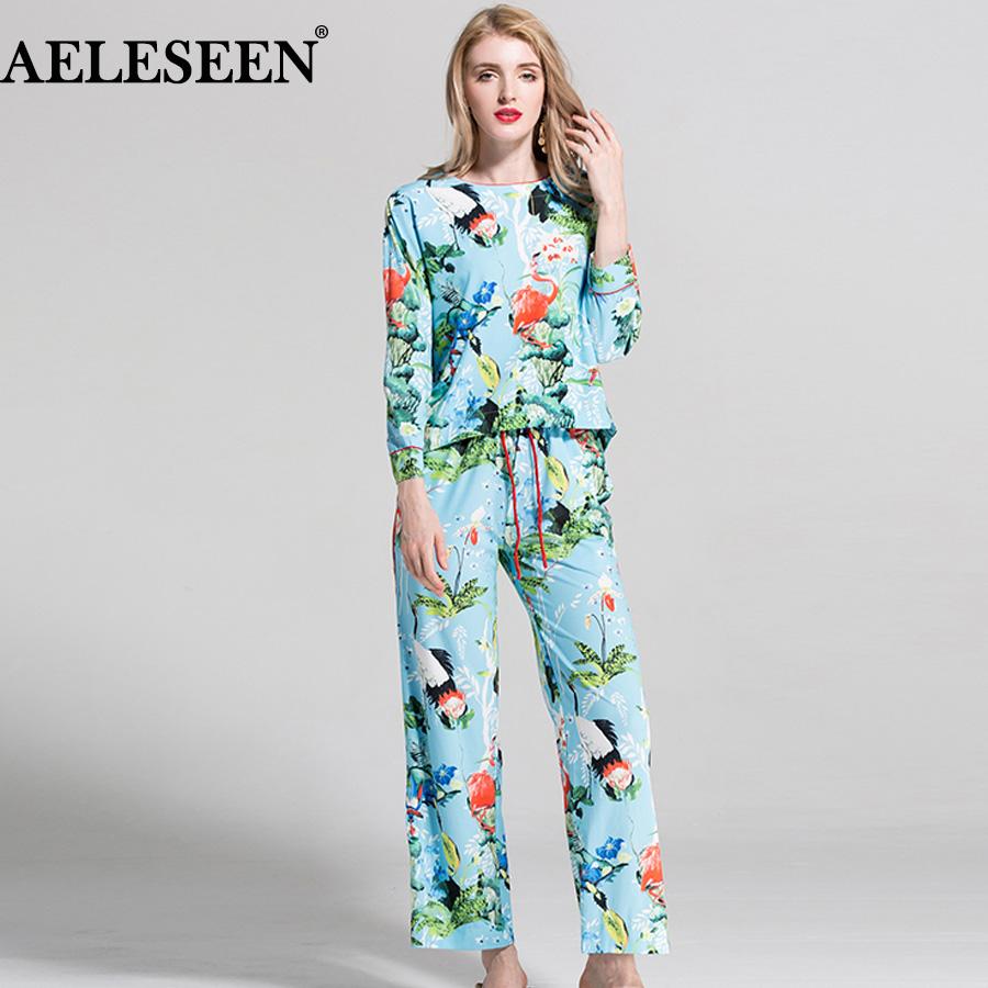 AELESEEN Female Luxury Casual Twinsets 2018 Holiday Fashion 3 4 Sleeve Sky Blue Crane Print Top