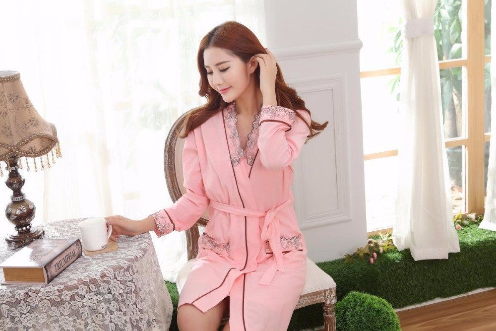 New Sexy women Robe Sets jacquard weave nightwear indoor silk lace Long  sleeve sleepwear(bathrobe + straps nightgown) two pieces-in Robe   Gown  Sets ... 7dbb9a723