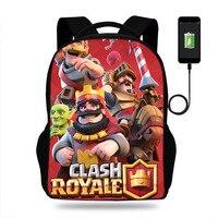 17 inch Game Clash Royale Print Backpack Casual Travel School Bags for Teenage Boy&Girls Shoulder Bags Rucksack Laptop Bookbag