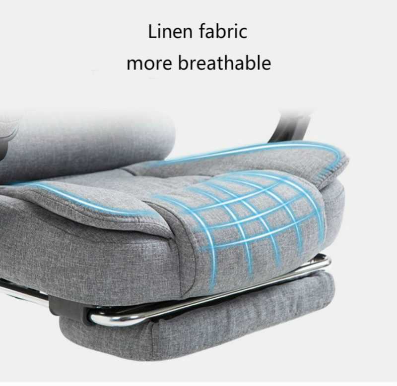 Купить с кэшбэком Breathable Cloth Art Computer Chair Multifunction Flax Lift Chair Household Reclining Swivel Chair with Footrest Massage Chair