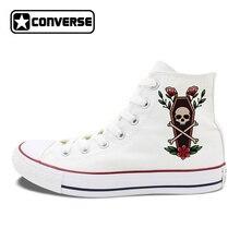 Original Death Coffin Skull Flower Design Converse Shoes High Top Canvas Sneakers Man Woman's Chucks Skateboarding Shoes