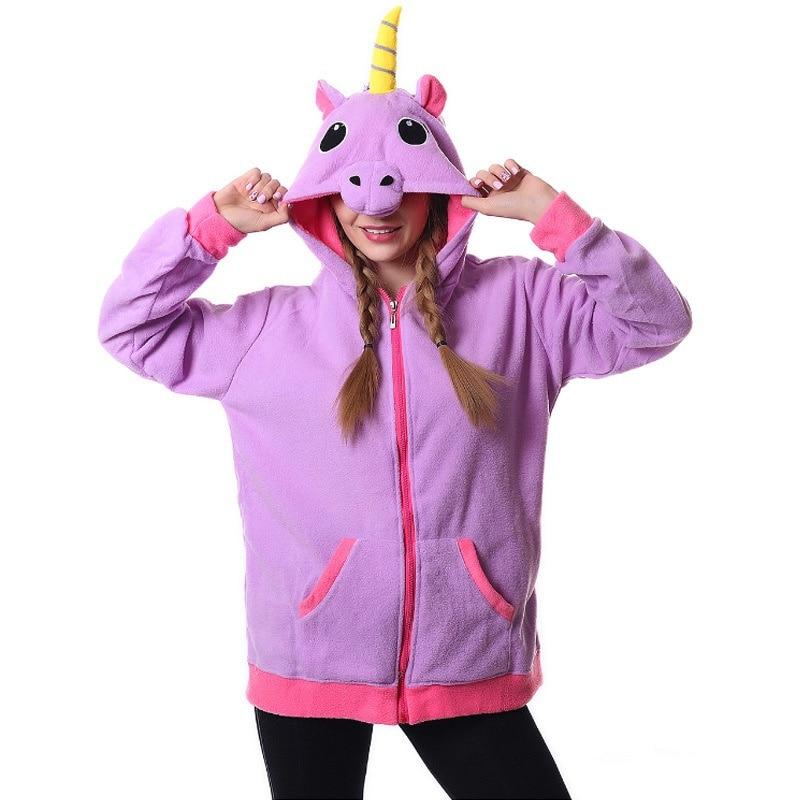 New Blue Pink Purple Unicorn Hoodie Anime Costume Adult Animal Panda Stitch Hooded Sweatshirt Cosplay Coat