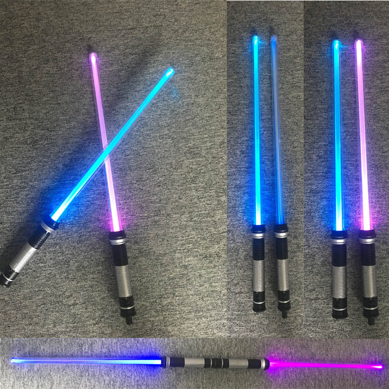 Drop Shipping 2 pcs/lot Star Wars Lightsaber Led Flashing Light Sword Toys Cosplay Weapons Sabers Gifts for boys 2pcs cosplay star wars lightsaber sound telescopic led flashing light sword toys weapons sabers pvc action figure toy gifts boys