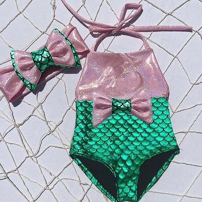 Toddler Kids Baby Girls Mermaid Swimsuit Costume Swimwear Beach Bikini Set Bow 2pcs  0-3Y 2017 NEW