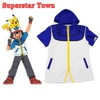 Pokemon Go Ash Ketchum Trainer Cosplay Jacket Costume Anime Ash Ketchum Unisex Costume Halloween Free Shipping