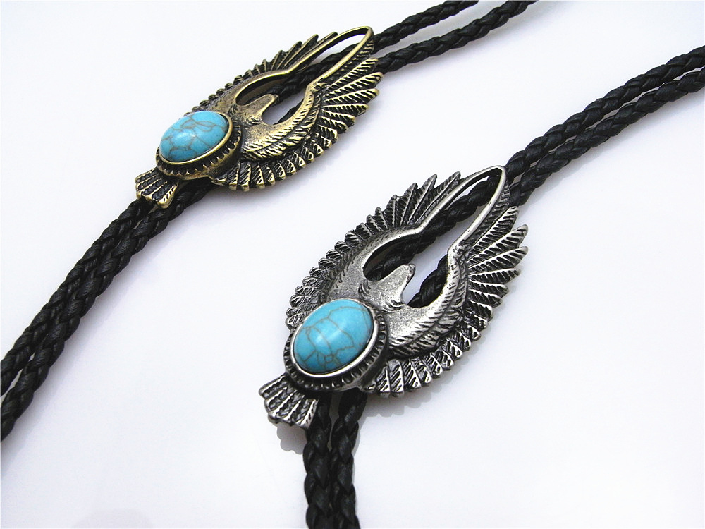 Bolo Tie New Retro Shirt Chain Blue Stone Flying Wings Bollow Collar Leather Necklace Long Tie Pendant