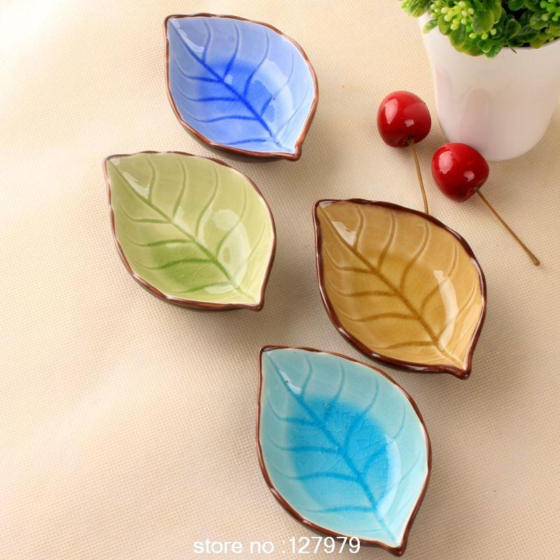 On sale! ceramic plates leaves creative Japanese sushi dishes snacks dishes seasoning sauce dish wholesale & Banana leaf shape leaf dish ceramic dishes ice crack glaze lovely ...