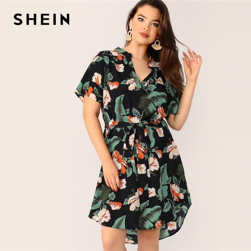 5e7d211a33 SHEIN Boho Multicolor Plus Size Tropical Print Belted Midi Dress 2019  Regular Sleeve