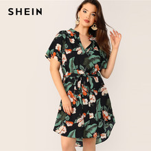 7163637390 SHEIN Boho Multicolor Plus Size Tropical Print Belted Midi Dress 2019  Regular Sleeve V Neck Casual Beach Vacation Dresses