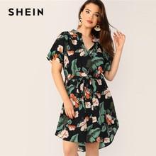 b3e66ee0cfcef SHEIN Boho Multicolor Plus Size Tropical Print Belted Midi Dress 2019  Regular Sleeve V Neck Casual Beach Vacation Dresses