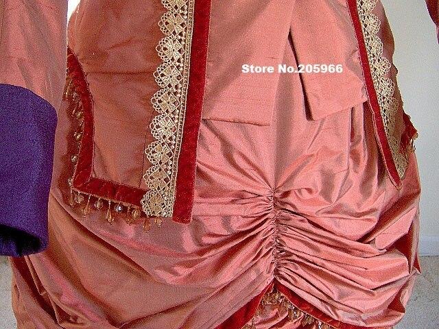 Alta costura 1870 s viejo oeste vestido victoriano 1880 s 2 piece ...
