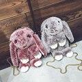 NEW girl fashion 4 cores de pele de couro capa lebre lã cadeias bolsa das mulheres casuais saco do mensageiro coelho de pelúcia