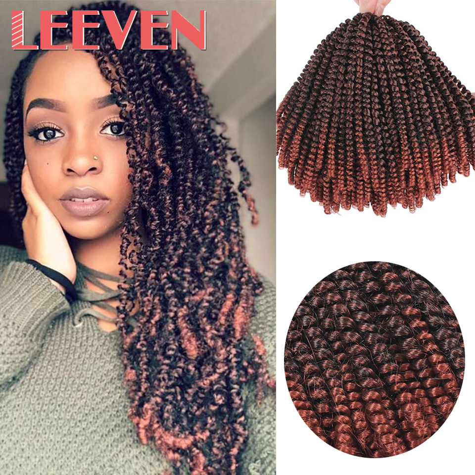 Leeven 8inch Fluffy Spring Twist Crochet Hair Extensions Synthetic Crochet Braids Black Brown Ombre  Braiding Hair 110g