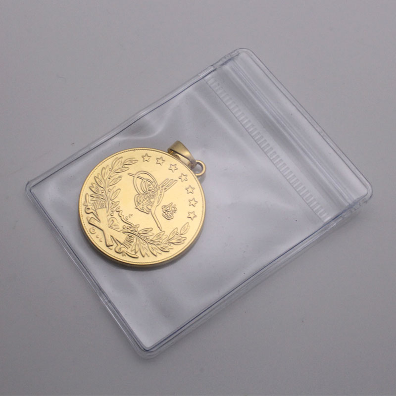 ZKD islam Arab Coin Gold Color Turkey Coins Pendant Necklace  muslim Ottoman coins jewelry