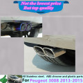 For PEUGE0T 3008 2013 2014 2015  body cover muffler exterior end black pipe dedicate stainless steel exhaust tip tail 1pcs