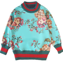 Autumn Winter France USA Cotton lining Floral Pullovers hoodies long sleeves loose cotton Women Cloth Girl sweatshirs outwear