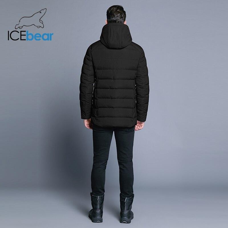 ICEbear 2018 nouveaux hommes de veste d'hiver chaud chapeau détachable mâle manteau court mode décontracté vêtements homme marque vêtements MWD18813D - 4
