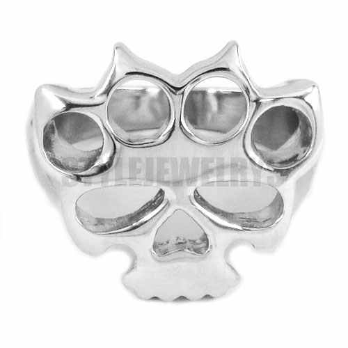 Silver Knuckles Boxing Glove Skull Ring Stainless Steel Jewelry Fashion Motor Biker Men Women Ring Wholesale SWR0417A