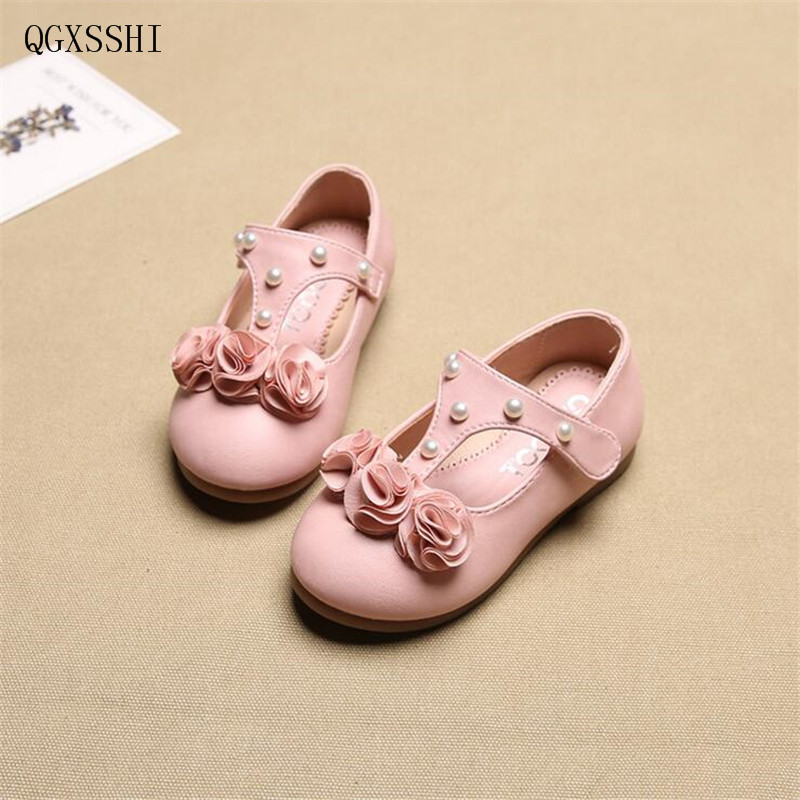 QGXSSHI Girls shoes Fashion PU leather pearl flowers rose children shoes good quality stock little kids beautiful dance shoes