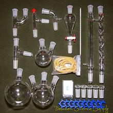 مجموعة جديدة من الأواني الزجاجية لمختبر الكيمياء المتقدمة مع مفصل أرضي زجاجي 24/40 ، 29 قطعة