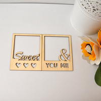 24Pcs Lot 7 9X9 9Cm Frame Shape Sweet You Me Wooden Crafts Home Decoration Wedding Photos