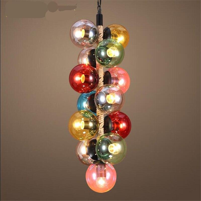 Vintage Loft Colorful Glass Balls Modo Iron Led E27 Pendant Light for Dining Room Restaurant Bar Hemp Rope Chain Lamps 1560 стоимость