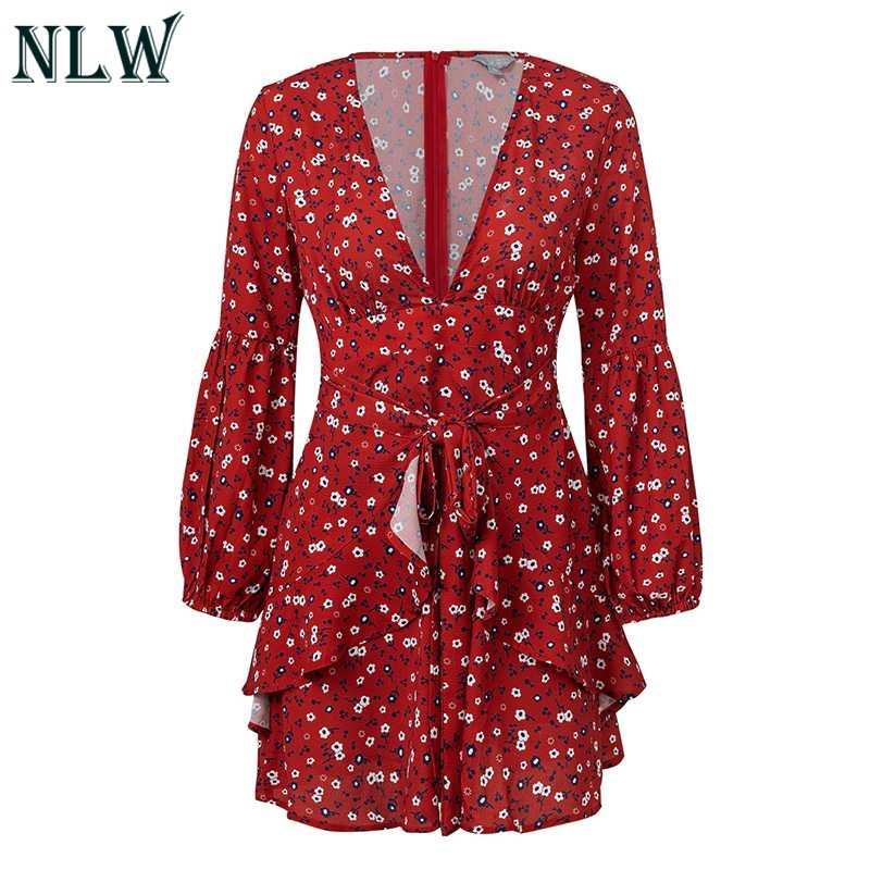 NLW глубокий v-образный вырез короткое сексуальное Повседневное платье красное Цветочное платье Bohe женское платье с длинным рукавом с рюшами и бантом пляжное платье Vesidos