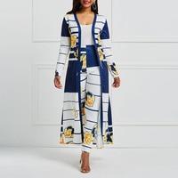 African Sexy 2 Sets Suits Female Autumn Stripe Floral Color Block Print Boho Pencil Pants Elegant Office Large Sizes Women Suits