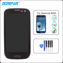 Black LCD Display For Samsung Galaxy S3 i9300 Touch Screen Digitizer with Home Button Assembly+Bezel Frame+Tempered glass+Tools