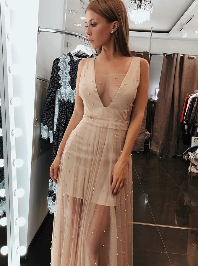 BKLD 2018 New Summer Beach Boho Maxi Dress Sleeveless Sexy Women Dress V Neck Nightclub Pearl Beading Women Evening Party Dress