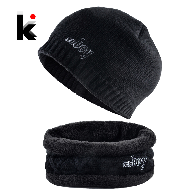 Winter   Beanie   Cap Men Knitted Hats Scarf Set Fashion Letter Embroidery   Skullies     Beanies   Outdoor Ski Thick Warm Bonnet Hat Gorras