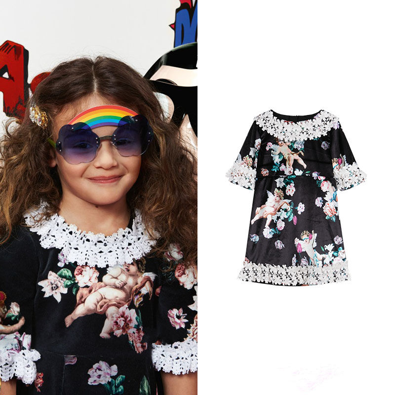Girls' clothing Customized little angel print velvet court lace dress contrast lace striped star print dress