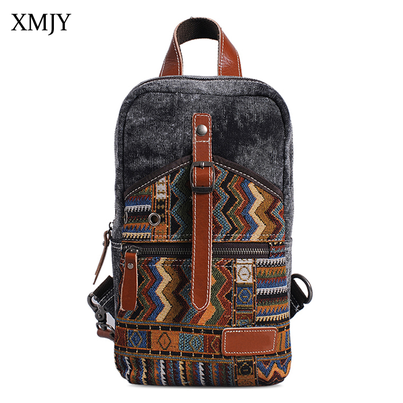 XMJY National Canvas Messenger Bags Chinese Style Chest Bag For Men Vintage Geometric Pattern Crossbody Pack Casual Sling Bag augur 2018 men chest bag pack functional canvas messenger bags small chest sling bag for male travel vintage crossbody bag