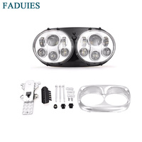 FADUIES Chrome Sets 7 Inch Motorcycle Projector Day Maker Dual LED Headlight For Harley Davidson Daymaker