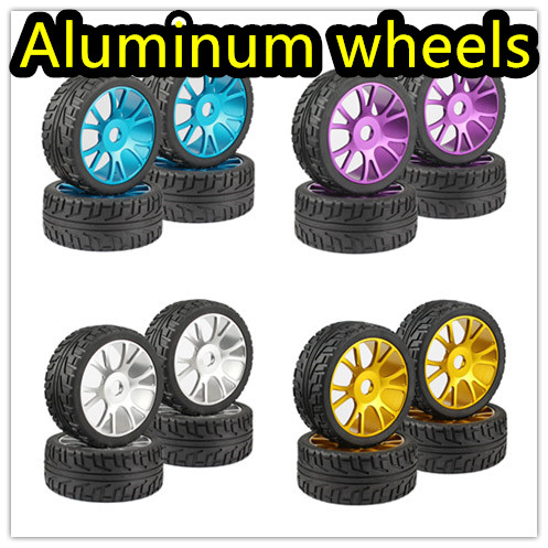 4PC RC 1/8 On-Road Car Buggy Tires Metal Aluminum Alloy Wheel Rim Rubber Tyre high quality for HSP 94760 94763 94766 94860 настольная игра хоккей x match