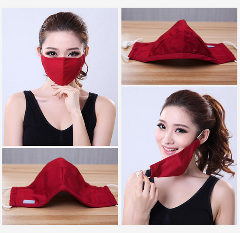 * Tcare Fashion Cotton PM2.5 Anti haze smog mouth Dust Mask + * Activated carbon filter paper * bacteria proof Flu Face Mask 21