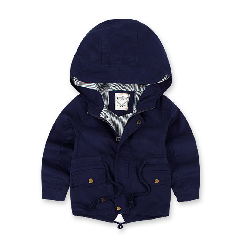 Childrens Windbreaker Spring Autumn Jacket For Boy Casual Kids Trench Coat New Arrival Long Sleeve Hooded Boys Jackets