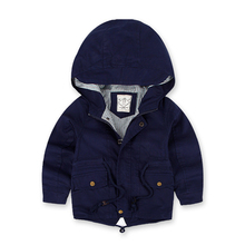 Children's Windbreaker Spring Autumn Jacket For Boy Casual Kids Trench Coat New Arrival Boy Coat Long Sleeve Hooded Boys Jackets