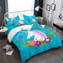 Blue Unicorn Bedding Set Colorful Floral Duvet Cover Cartoon Girls Princess Bed Pillowcase Bedroom Decor D35
