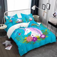 Blue Unicorn Bedding Set Colorful Floral Duvet Cover Set Cartoon Bedding Girls Princess Bed Set Pillowcase Bedroom Decor D35 redbo rb 9000 5