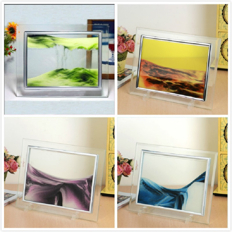 moving sand glass photo picture frame home desk room decorative figures ornament birthday