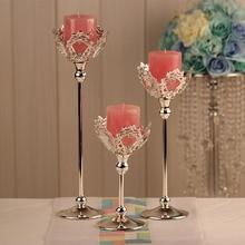 Europe Fashion Wedding Candles Holder Centerpiece Decoration CandleStick Silver Color Crystal Candle Lantern Candelabras