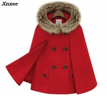 Xnxee Woman England Style Woolen Coats Double Breasted Batwing Sleeve Cape Fur Hooded Warm Elegant Luxury