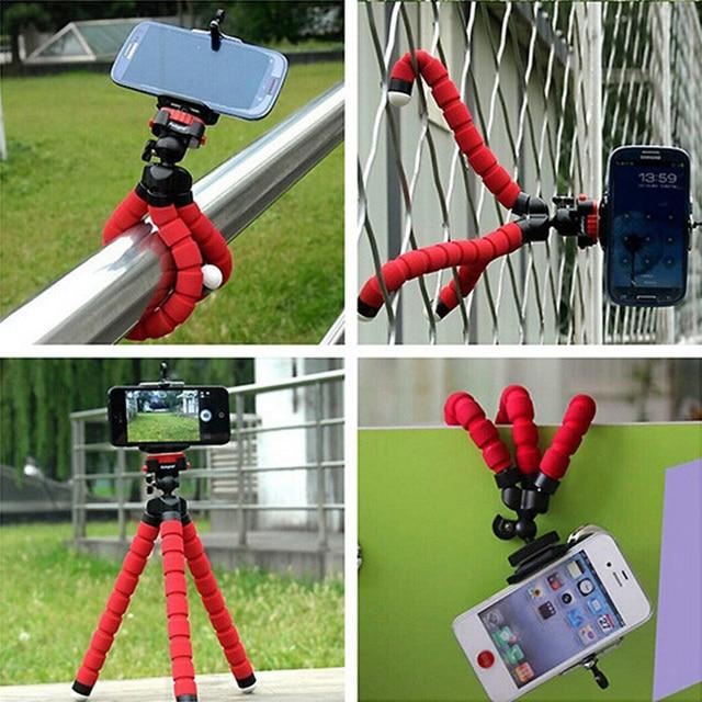 Mini Tripé Profissional Tripé de Câmera Tripé Flexível Suporte Suporte Tripe Celular Monopé Holder Clip Para Iphone Samsung Galaxy